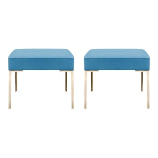 Astor Brass Ottomans in Lagoon Luxe Suede by Montage, Pair