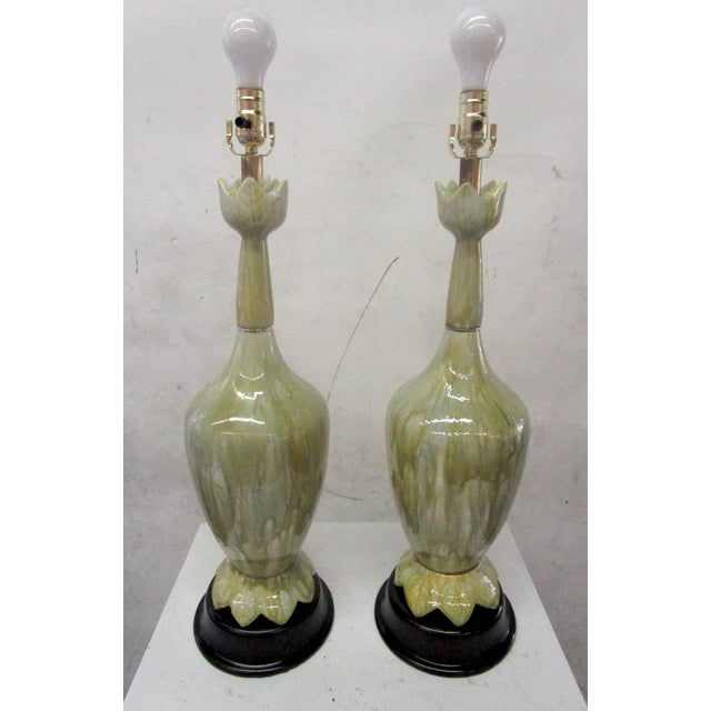 Green Ceramic Lamps With Flower Motif - Pair - Image 3 of 10