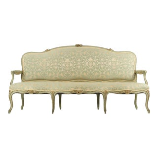 French Louis XV Style Green Painted Settee