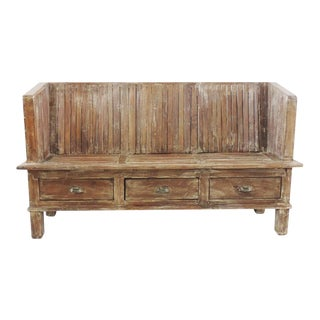 Colonial Teak Bench w/Drawers