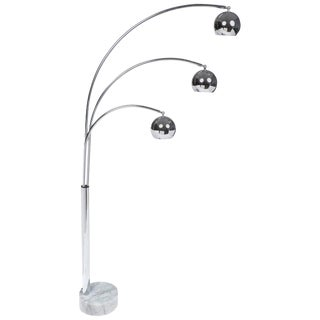 Guzzini Mid-Century Chrome Arc Floor Lamp