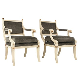 Vintage Cream & Gray Empire Style Chairs - A Pair