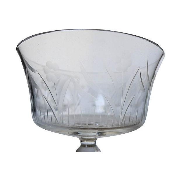 Etched Floral Pattern Crystal Coupe - Set of 6 - Image 3 of 7