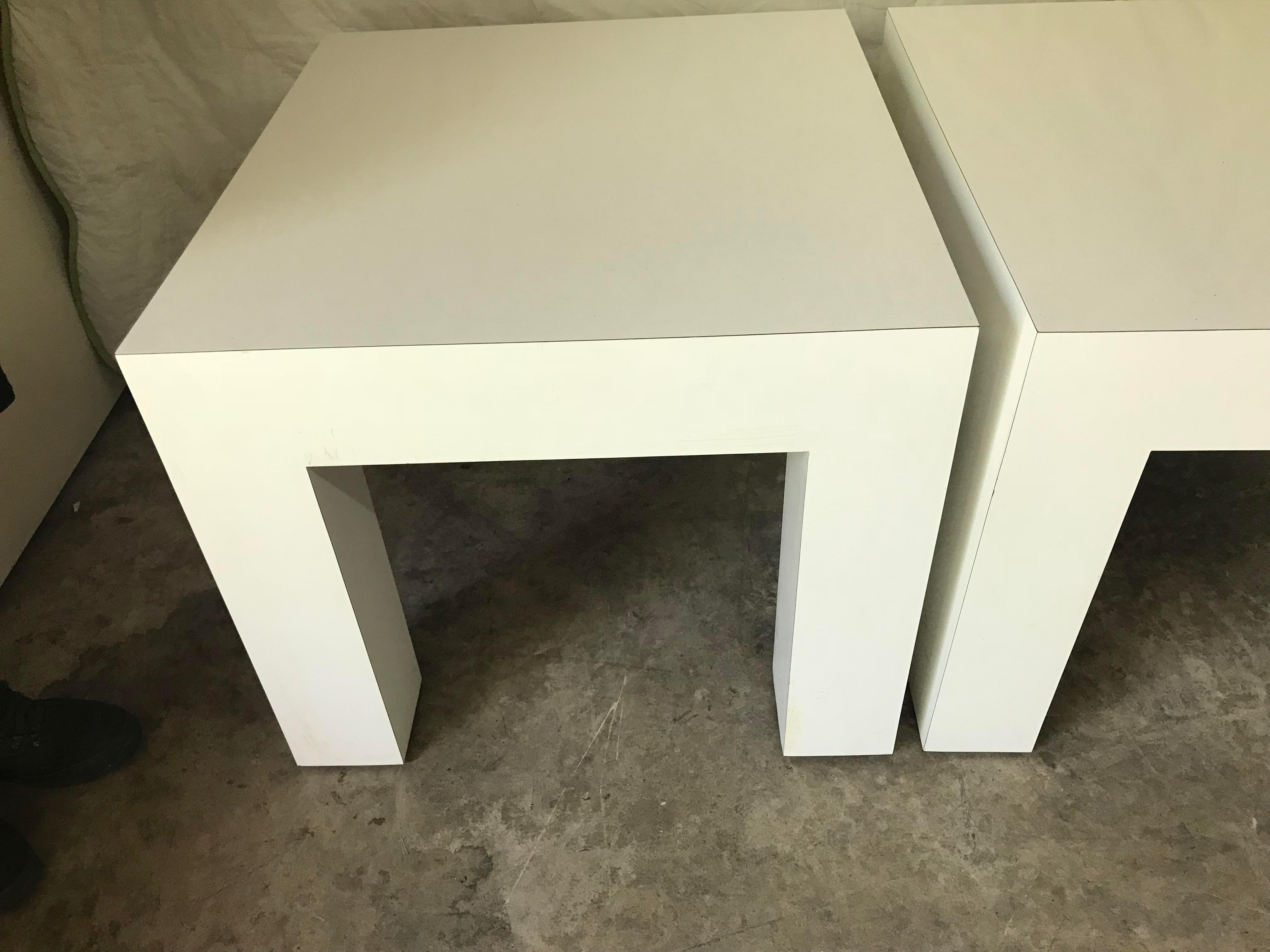 Vintage Mod White Laminate Parsons Tables   A Pair   Image 4 Of 5