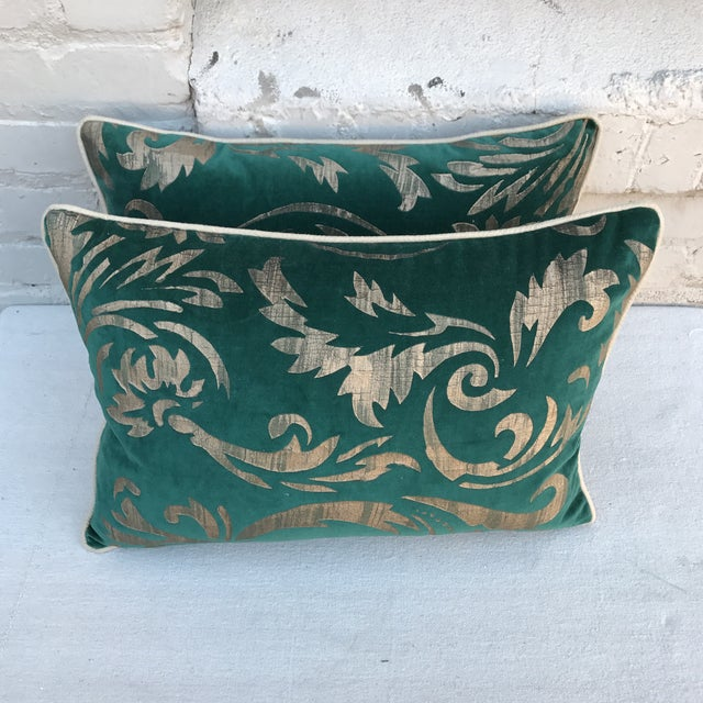 Hand Stenciled Velvet Pillows - A Pair - Image 4 of 6