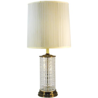 Tartan Crystal Table Lamp with Brass Base