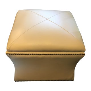 Cream Colored Leather Storage Ottoman
