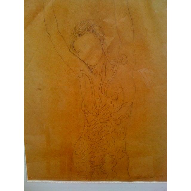 "Tom Wudl ""Stretching Woman"" Original Drawing - Image 5 of 5"