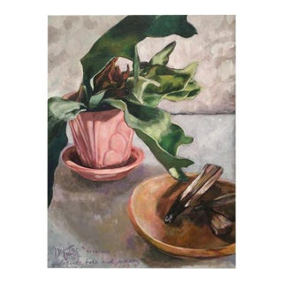 """Palo Santo, Fern & Pottery"" Original Still Life Painting"