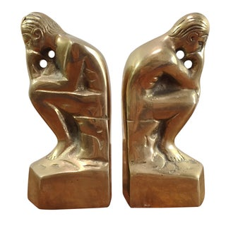 Brass Thinker Bookends