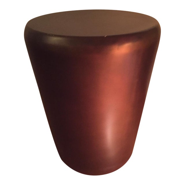 Crate & Barrel Bronze Drum End Table - Image 1 of 6
