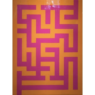 Maze in Saffron and Jewel Pink Acrylic Paint