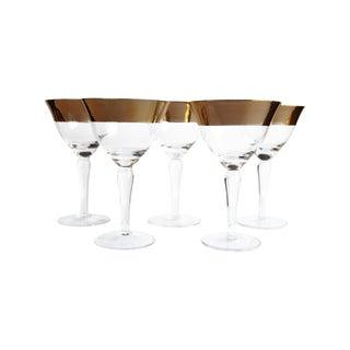 Vintage Gold Band Cocktail Glasses - Set of 5