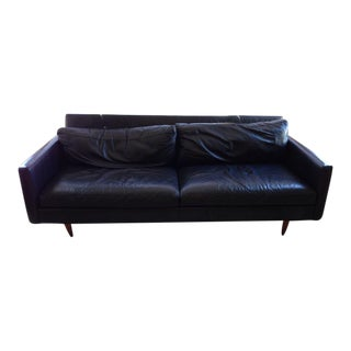 Contemporary Black Leather Two-Cushion Sofa