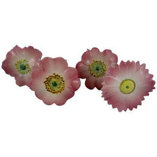 Delphin Massier French Majolica Pink Floral Place Card Holders - Set of 4
