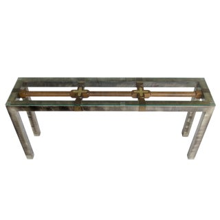 Reclaimed Wood & Industrial Steel Console Table