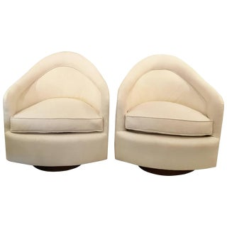 Set Of Mid Century Modern Milo Baughman Sleek Swivel Chairs