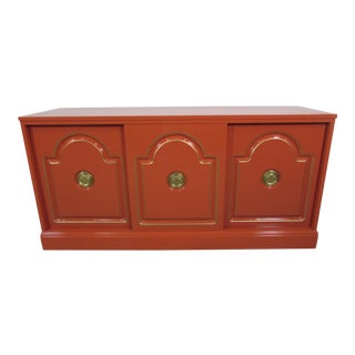 Dorthy Draper Style Persimmon Orange Media Cabinet
