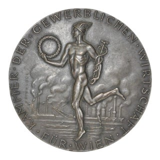 "Edwin Grienauer ""Chamber of Commerce, Vienna"" Bronze Medallion c.1950s"