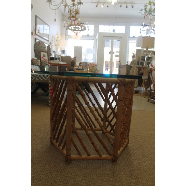 Bamboo Glass Top Table - Image 4 of 5