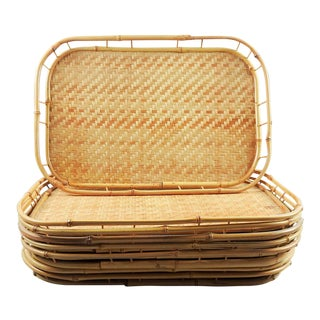 Bamboo Rattan Tiki Trays - Set of 8