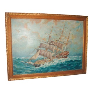 Old Sailing Ship in Rough Seas Painting