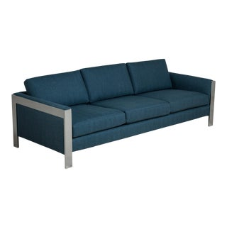 A Large Chromium Steel Framed Wool Upholstered Sofa 1970s