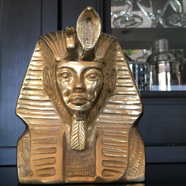 Vintage Solid Brass Egyptian Bust of King Tut - Image 3 of 8