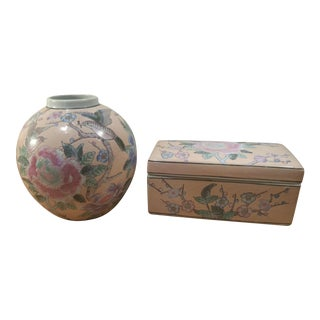 Ceramic Famille Rose Ginger Jar & Trinket Box