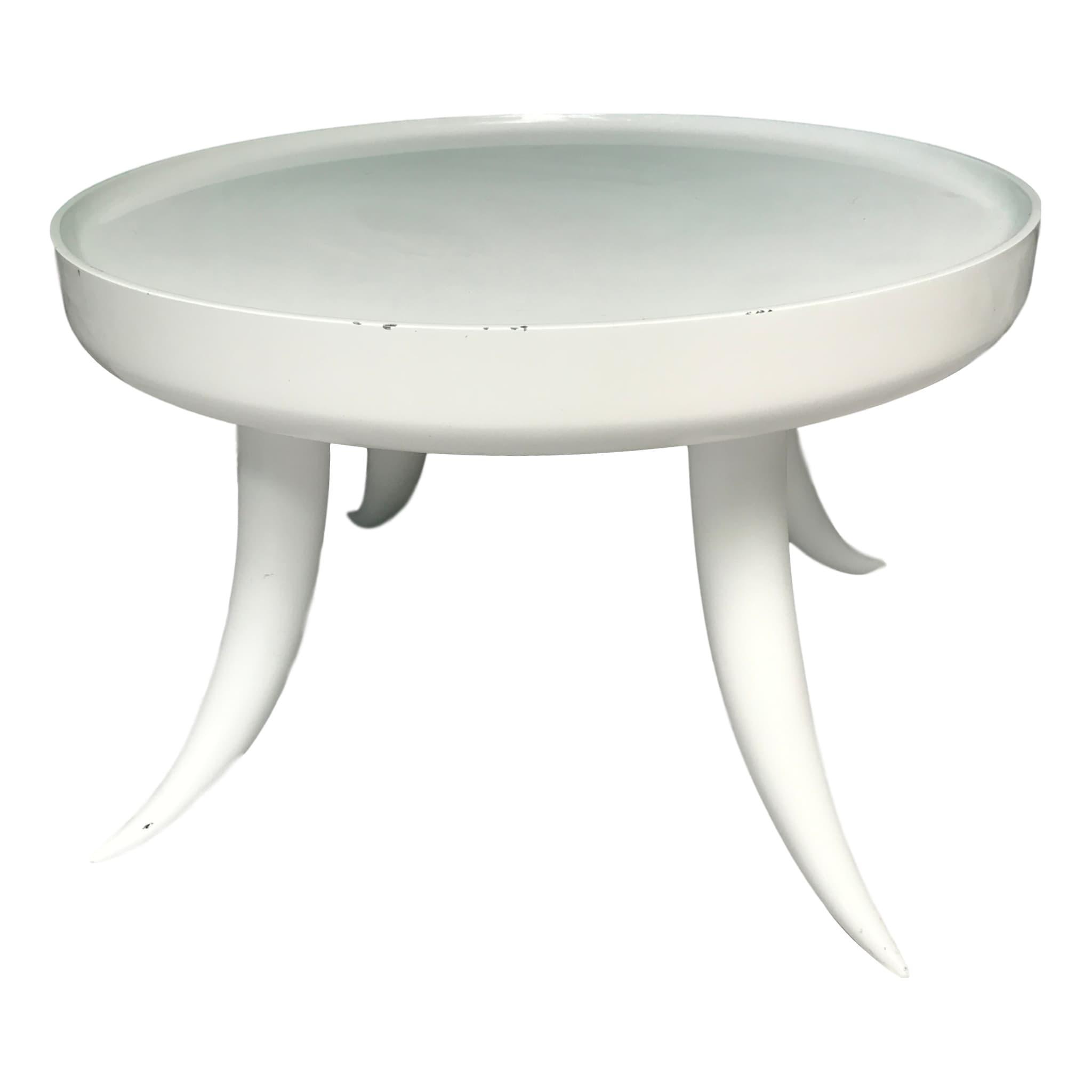 White Jonathan Adler Lacquer Tusk Table