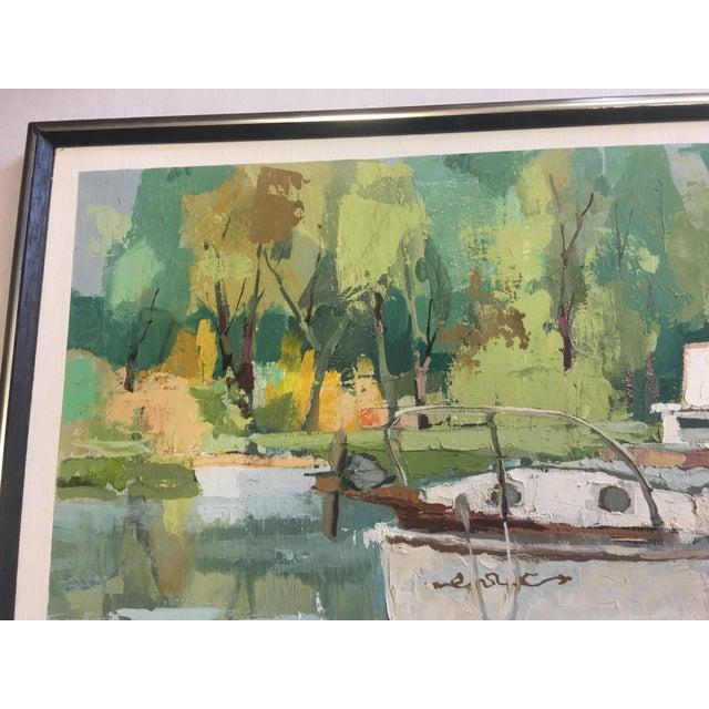 Stefan Lokos Boat At the Marina Painting - Image 10 of 11