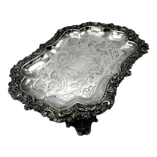 Early 19th Century Georgian Etched Sheffield Silver Plate Tray