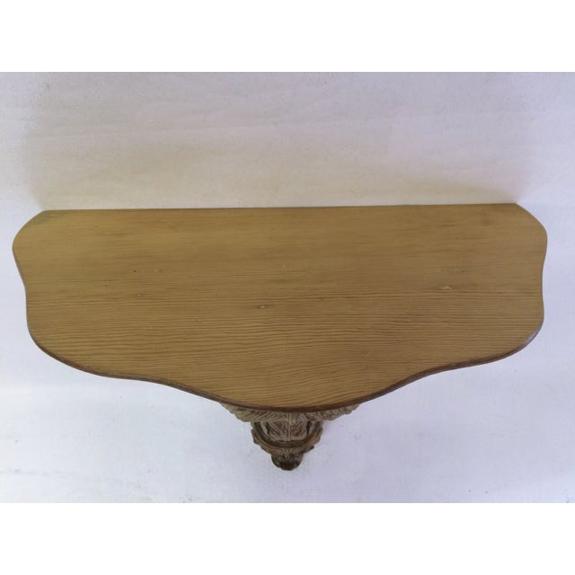 Image of Carved Walnut Wood Wall Console Table