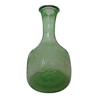 1930s Fostoria Versailles Green Glass Decanter