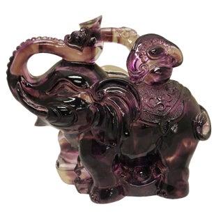 Purple Liuli Crystal Glass Pate-de-verre Elephant
