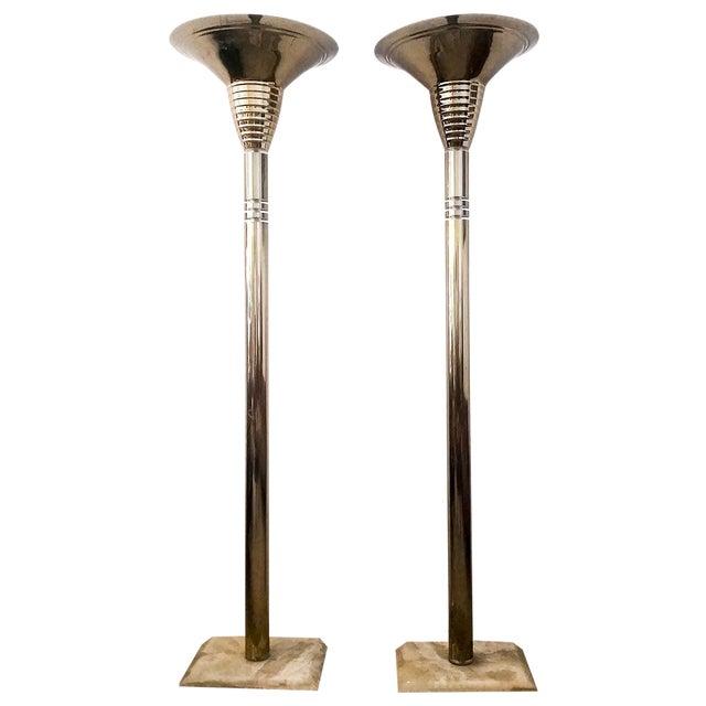 1970's Italian Brass & Quartz Torchieres - A Pair - Image 1 of 5