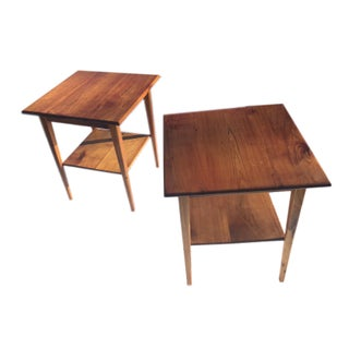 Mid-Century Modern Walnut End Tables - A Pair
