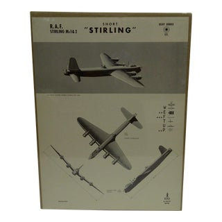 "Vintage ""Short Sterling"" WWII Aircraft Recognition Poster Circa 1942"
