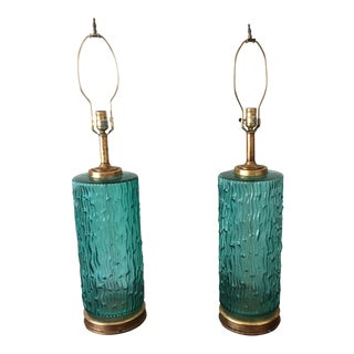 Mid Century Modern Blue/Green Murano Glass Lamps - a Pair