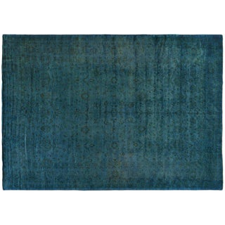 Turquoise Silky Wool Overdyed Rug - 11′8″ × 16′2″