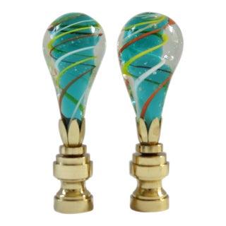 Aqua Swirl Blown Glass Finials - a Pair