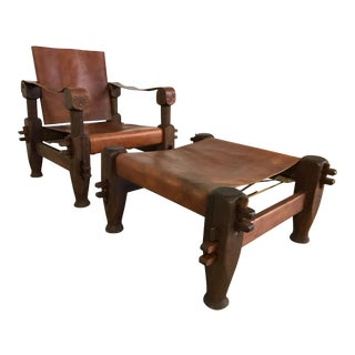Vintage Safari Chair & Ottoman, Rosewood & Leather