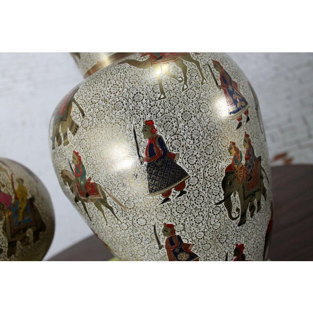 Persian Etched & Enameled Cast Brass Vases - A Pair - Image 5 of 10
