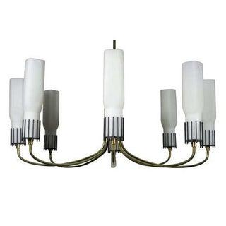Stilnovo Attributed Brass And Glass Chandelier