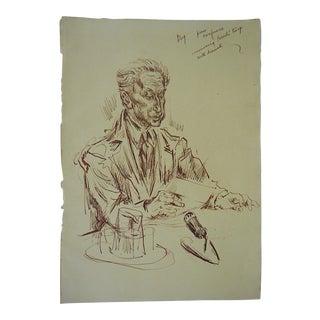Original Vintage Drawing-Listed US Artist-David Fredenthal-U.N.Suez Crisis