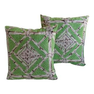 Vintage Schumacher Fabric Pillows - A Pair
