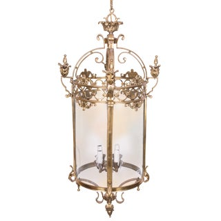 19th Century French Brass and Etched Glass Lantern