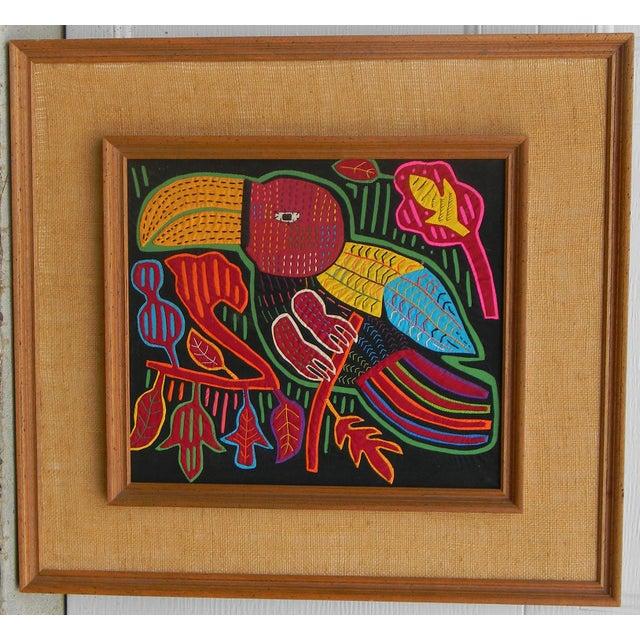Mid-Century Framed Kuna Mola Textile Art - Image 2 of 5