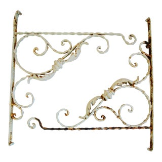 Vintage Scrolled Architectural Iron Brackets - Pair
