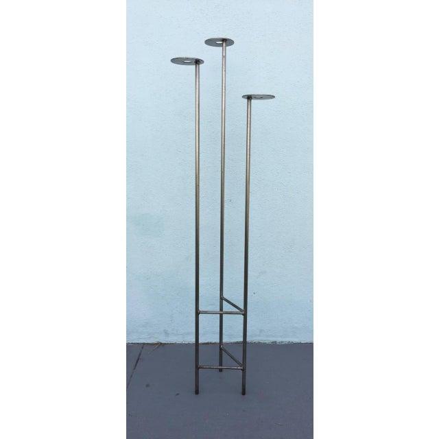 Mid Century Modern Steel Brutalist Floor Candle Holder